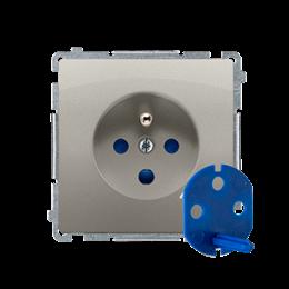 Gniazdo wtyczkowe pojedyncze DATA z kluczem uprawniającym satynowy, metalizowany 16A-253859