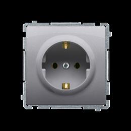 Gniazdo wtyczkowe pojedyncze z uziemieniem typu Schuko z przesłonami torów prądowych inox, metalizowany 16A-253893