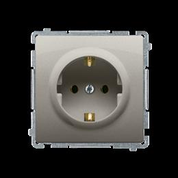 Gniazdo wtyczkowe pojedyncze z uziemieniem typu Schuko z przesłonami torów prądowych satynowy, metalizowany 16A-253896