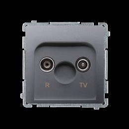 Gniazdo antenowe R-TV przelotowe tłum.:10dB inox, metalizowany-253912