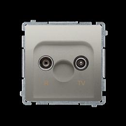 Gniazdo antenowe R-TV przelotowe tłum.:10dB satynowy, metalizowany-253914