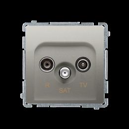 Gniazdo antenowe R-TV-SAT przelotowe tłum.:10dB satynowy, metalizowany-253956