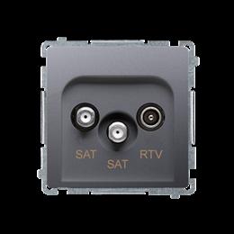 Gniazdo antenowe SAT-SAT-RTV satelitarne podwójne tłum.:1dB inox, metalizowany-253964