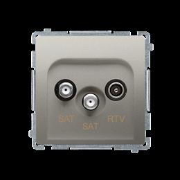 Gniazdo antenowe SAT-SAT-RTV satelitarne podwójne tłum.:1dB satynowy, metalizowany-253966