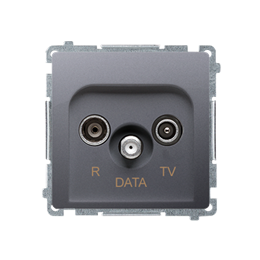 Gniazdo antenowe R-TV-DATA tłum.:10dB inox, metalizowany-253971