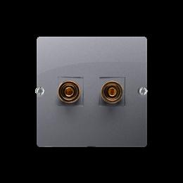 Gniazdo głośnikowe pojedyncze inox, metalizowany-254031
