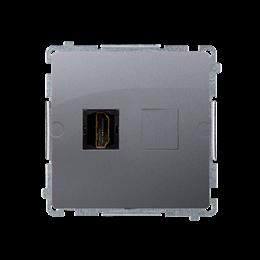 Gniazdo HDMI pojedyncze inox, metalizowany-254039