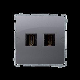 Gniazdo HDMI podwójne inox, metalizowany-254046