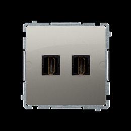 Gniazdo HDMI podwójne satynowy, metalizowany-254047