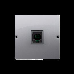Gniazdo telefoniczne pojedyncze RJ11 (moduł) inox, metalizowany-254073