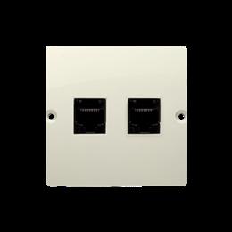 Gniazdo komputerowe podwójne RJ45 kategoria 5e (moduł) beżowy-254134