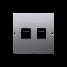Gniazdo komputerowe podwójne RJ45 kategoria 5e (moduł) inox, metalizowany-254135