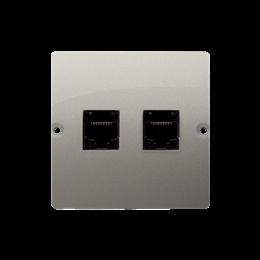 Gniazdo komputerowe podwójne RJ45 kategoria 5e (moduł) satynowy, metalizowany-254137