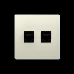 Gniazdo komputerowe RJ45 kategoria 5e + telefoniczne RJ11 (moduł) beżowy-254141