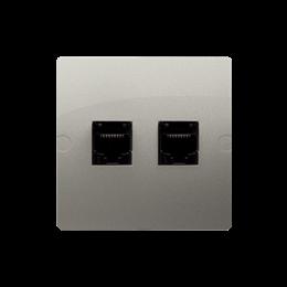 Gniazdo komputerowe RJ45 kategoria 5e + telefoniczne RJ11 (moduł) satynowy, metalizowany-254159