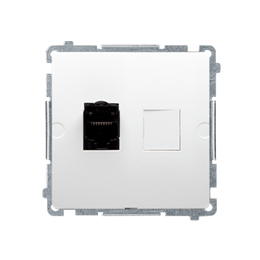 Gniazdo komputerowe pojedyncze RJ45 kategoria 6, z przesłoną przeciwkurzową (moduł) biały-254123