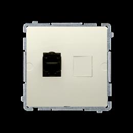 Gniazdo komputerowe pojedyncze RJ45 kategoria 6, z przesłoną przeciwkurzową (moduł) beżowy-254124
