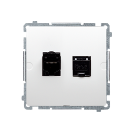 Gniazdo komputerowe podwójne ekranowane RJ45 kategoria 6, z przesłoną przeciwkurzową (moduł) biały-254154