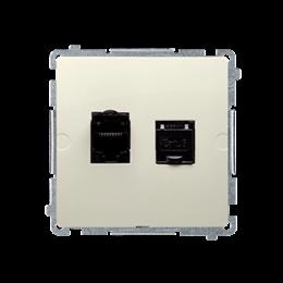 Gniazdo komputerowe podwójne ekranowane RJ45 kategoria 6, z przesłoną przeciwkurzową (moduł) beżowy-254155