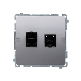 Gniazdo komputerowe podwójne ekranowane RJ45 kategoria 6, z przesłoną przeciwkurzową (moduł) inox, metalizowany-254156