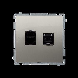 Gniazdo komputerowe podwójne ekranowane RJ45 kategoria 6, z przesłoną przeciwkurzową (moduł) satynowy, metalizowany-254157