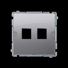 Pokrywa gniazd teleinformatycznych na Keystone płaska podwójna inox, metalizowany-254171