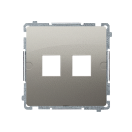 Pokrywa gniazd teleinformatycznych na Keystone płaska podwójna satynowy, metalizowany-254173