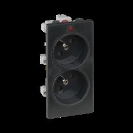 Gniazdo podwójne CIMA z bolcem uziemiającym z sygnalizacją napięcia 16A 250V zaciski śrubowe 108×52mm szary grafit-256305