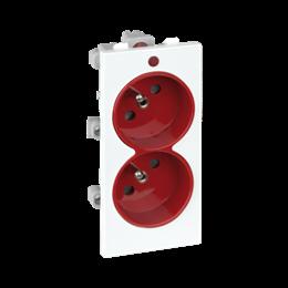 Gniazdo podwójne CIMA z bolcem uziemiającym z sygnalizacją napięcia 16A 250V zaciski śrubowe 108×52mm czerwony czysta biel-25630
