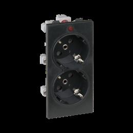 Gniazdo podwójne CIMA SCHUKO z sygnalizacją napięcia 16A 250V zaciski śrubowe 108×52mm szary grafit-256318