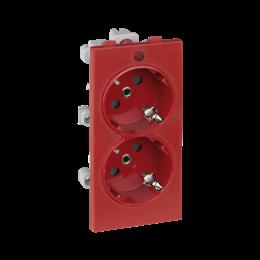 Gniazdo podwójne CIMA SCHUKO z sygnalizacją napięcia 16A 250V zaciski śrubowe 108×52mm czerwony-256320