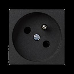 Gniazdo wtyczkowe pojedyncze K45 z bolcem uziemiającym 16A 250V zaciski śrubowe 45×45mm szary grafit-256249