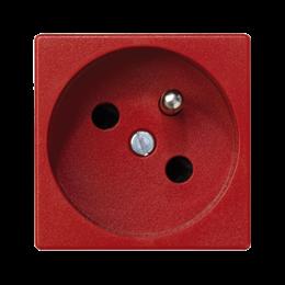Gniazdo wtyczkowe pojedyncze K45 z bolcem uziemiającym 16A 250V zaciski śrubowe 45×45mm czerwony-256250