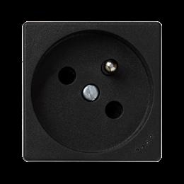 Gniazdo wtyczkowe pojedyncze K45 z bolcem uziemiającym z sygnalizacją napięcia 16A 250V zaciski śrubowe 45×45mm szary grafit-256