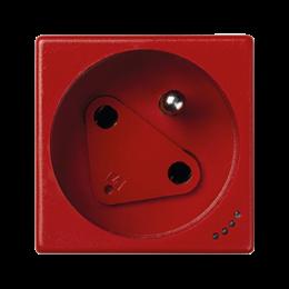 Gniazdo wtyczkowe pojedyncze K45 DATA z bolcem uziemiającym z sygnalizacją napięcia 16A 250V zaciski śrubowe 45×45mm czerwony-25