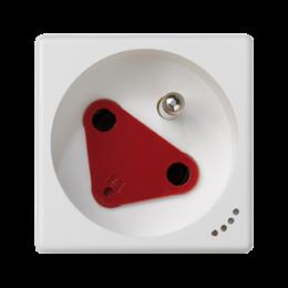 Gniazdo wtyczkowe pojedyncze K45 DATA z bolcem uziemiającym z sygnalizacją napięcia 16A 250V zaciski śrubowe 45×45mm czysta biel