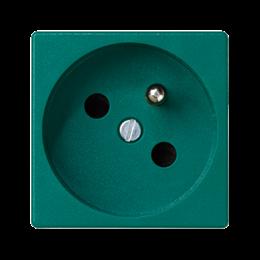 Gniazdo wtyczkowe pojedyncze K45 z bolcem uziemiającym 16A 250V szybkozłącza 45×45mm zielony-256261