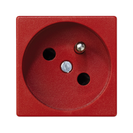 Gniazdo wtyczkowe pojedyncze K45 z bolcem uziemiającym 16A 250V szybkozłącza 45×45mm czerwony-256262