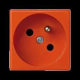 Gniazdo wtyczkowe pojedyncze K45 z bolcem uziemiającym 16A 250V szybkozłącza 45×45mm pomarańczowy-256264