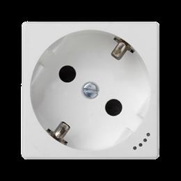 Gniazdo wtyczkowe pojedyncze K45 SCHUKO z sygnalizacją napięcia 16A 250V zaciski śrubowe 45×45mm czysta biel-256277