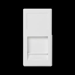 Plakietka teleinformatyczna K45 keystone pojedyncza płaska uniwersalna z osłoną 45×22,5mm czysta biel-256337