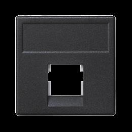 Plakietka teleinformatyczna K45 keystone pojedyncza bez osłon płaska uniwersalna 45×45mm szary grafit-256330