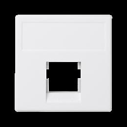 Plakietka teleinformatyczna K45 keystone pojedyncza bez osłon płaska uniwersalna 45×45mm czysta biel-256331