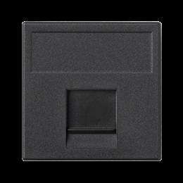Plakietka teleinformatyczna K45 keystone pojedyncza płaska uniwersalna z osłoną 45×45mm szary grafit-256332