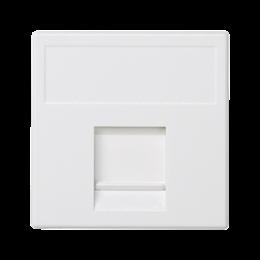 Plakietka teleinformatyczna K45 keystone pojedyncza płaska uniwersalna z osłoną 45×45mm czysta biel-256334