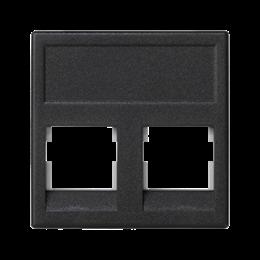Plakietka teleinformatyczna K45 keystone podwójna bez osłon płaska uniwersalna 45×45mm szary grafit-256338