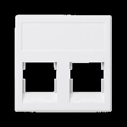 Plakietka teleinformatyczna K45 keystone podwójna bez osłon płaska uniwersalna 45×45mm czysta biel-256339