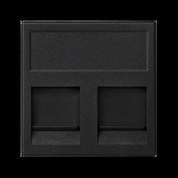 Plakietka teleinformatyczna K45 keystone podwójna płaska uniwersalna z osłonami 45×45mm szary grafit-256340