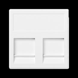 Plakietka teleinformatyczna K45 keystone podwójna płaska uniwersalna z osłonami 45×45mm czysta biel-256342