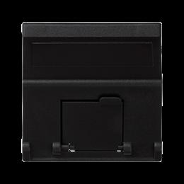 Plakietka teleinformatyczna K45 do adapterów MD pojedyncza skośna z osłonami 45×45mm szary grafit-256399